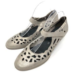 Mephisto Macaria Taupe Laser Cut Mary Janes